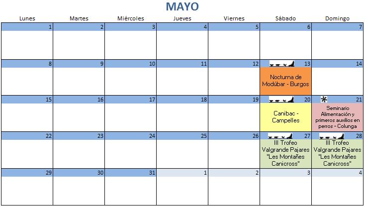 Calendario Mayo - 2017