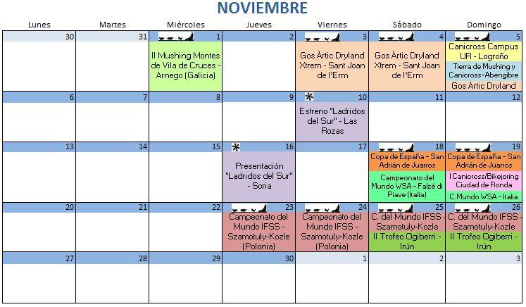 Calendario Noviembre - 2017