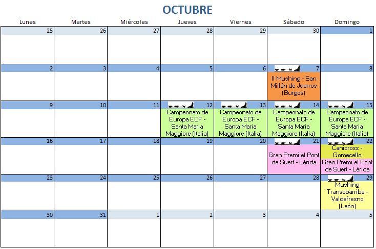 Calendario Octubre - 2017