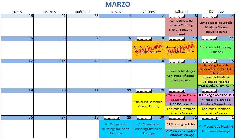 Calendario Marzo - 2018