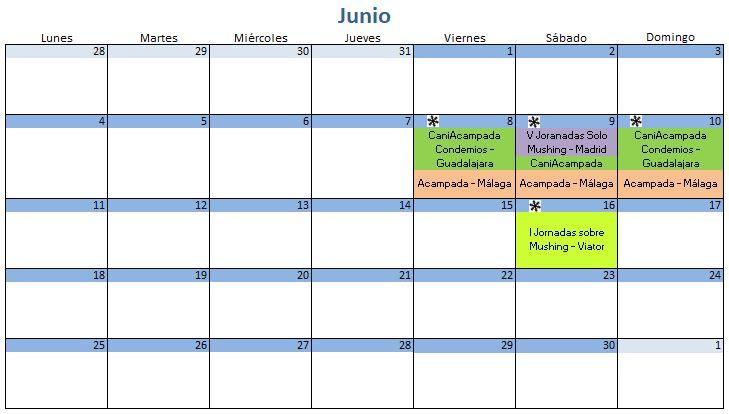 Calendario Junio - 2018