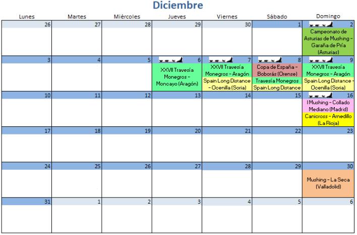 Calendario Diciembre - 2018